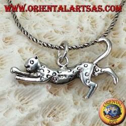 Silver pendant, running cheetah