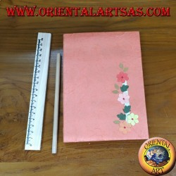 Notebook in rice paper with flowers, salmon cover
