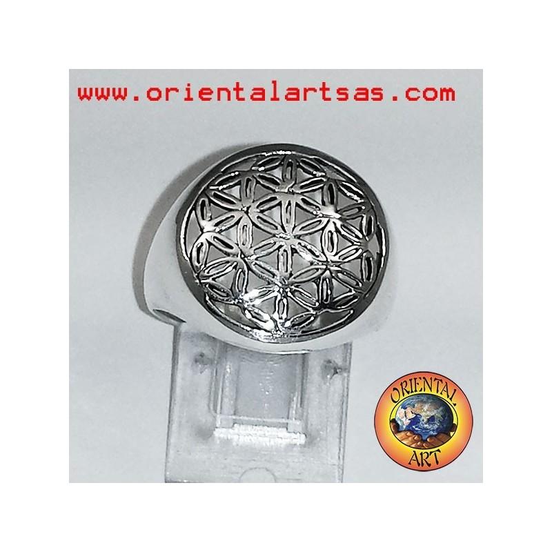 anello fiore della vita in argento
