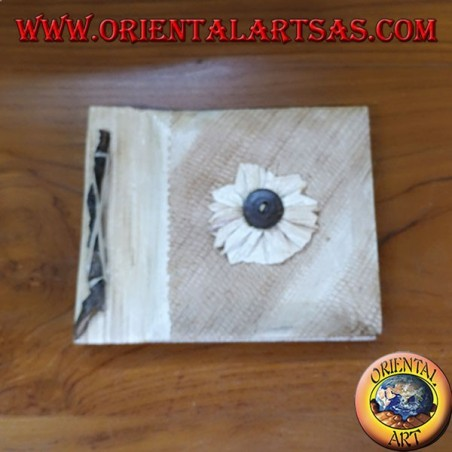 Notebook in rice paper with square bark cover (medium)