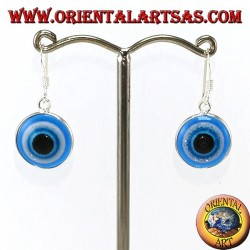 Silver pendant earrings with an eye of Allah