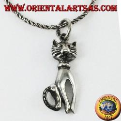 Ciondolo in argento il gatto con i baffi