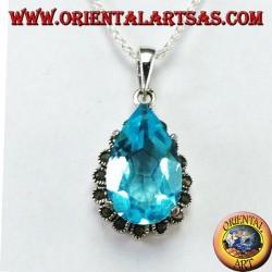 Ciondolo in argento con Topazio blu a goccia contornata di marcassiti