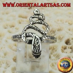 Silver ring in the shape of a cobra snake