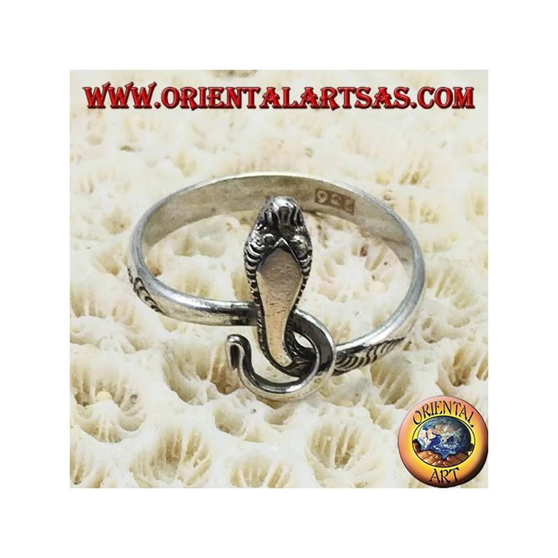 Anello serpente cobra  in argento 925‰  con testa oro