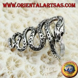 Silver ring in the form of a long cobra snake