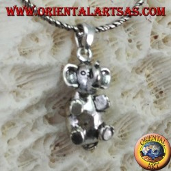 Silver elephant pendant that moves the head