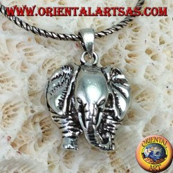 Silver elephant pendant with proboscis down