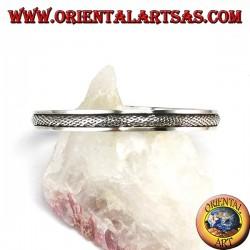 Starre Armband in 925 Silber mit einem geflochtenen Einsatz