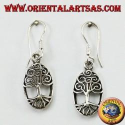 Pendientes colgantes de plata con el árbol de la vida celta ovalado