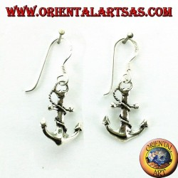 Hanging earrings in the shape of an anchor in silver