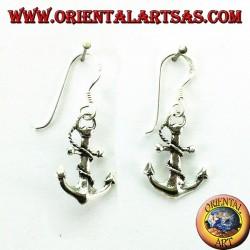 Orecchini pendenti a forma di àncora in argento