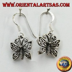 Silver earrings in the shape of a butterfly