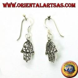 Ohrringe in 925 Silber Hand von Fatima durchbohrt klein