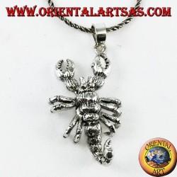 Colgante de plata de escorpión con 7 partes móviles. tridimensional