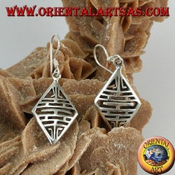 Drop earrings in silver with perforated rhombus