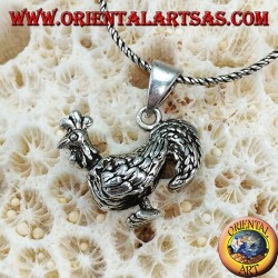 Silver three-dimensional rooster pendant