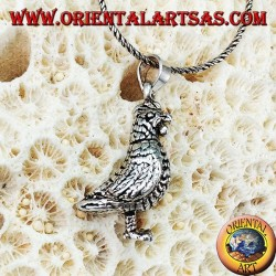 Silver pendant Mobile three-dimensional hen (turns his head and stomps his feet)