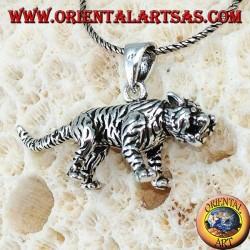 Подвеска из серебристого трехмерного тигра, большая