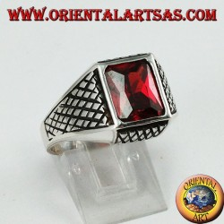 Silver men's ring with rectangular faceted garnet