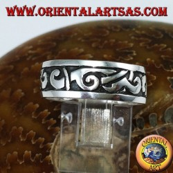 Silver band ring with Maori inlays
