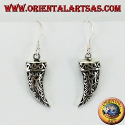 Silver earrings in the shape of a tusk of perforated elephant