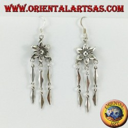 Silver earrings, flower with three long pendants