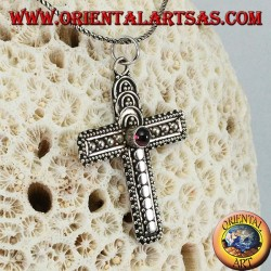 Silver pendant handmade cross with garnet in the center