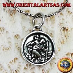 Ciondolo in argento medaglia di San Cristoforo