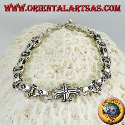 Solid silver bracelet with crosses