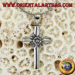 Ciondolo in argento la rosa nella croce