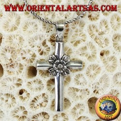 Pendant in silver the rose in the cross