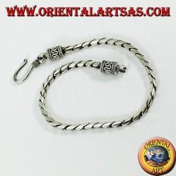 Bracciale in argento tondo a snodo