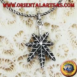 Silver pendant, cannabis hemp leaf