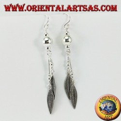 Silver earrings with long spheres with two feathers