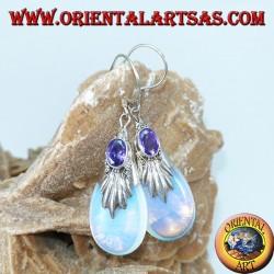 Boucles d'oreilles en argent avec opale de mer et améthyste ovale