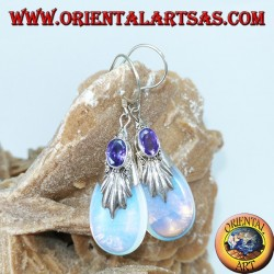 Silver earrings with sea opal and oval amethyst