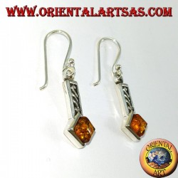Silver earrings inlaid with square amber