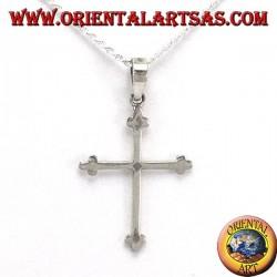 Colgante de plata con cruz simple anclado