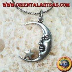 Silver pendant, moon with the star