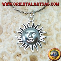 Silver pendant the face of the sun