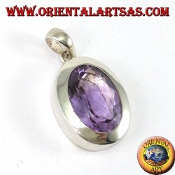 Silver pendant with a beautiful true natural Amethyst with a simple frame
