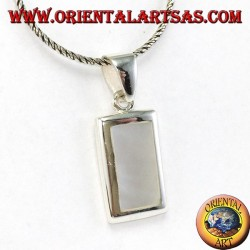 Silver pendant with a rectangular mother of pearl set