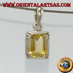 Ciondolo in argento con Topazio naturale rettangolare