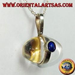 Ciondolo in argento con cristallo di rocca ad uovo con lapislazulo