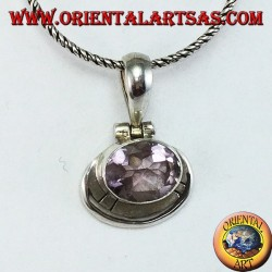 Silver pendant with natural oval Amethyst mounted horizontally