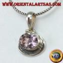 Ciondolo in argento con Ametista naturale ovale montata in orizzontale