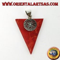 Ciondolo in argento con madrepora rossa (corallo) triangolare