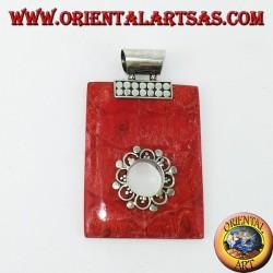 Ciondolo in argento con madrepora rossa (corallo) rettangolare con foro tondo