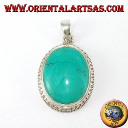 Silver pendant with natural Tibetan Turquoise surrounded by balls